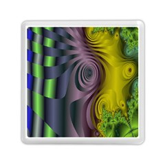Fractal In Purple Gold And Green Memory Card Reader (square)  by Simbadda