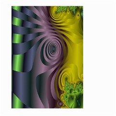 Fractal In Purple Gold And Green Large Garden Flag (two Sides) by Simbadda