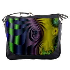 Fractal In Purple Gold And Green Messenger Bags by Simbadda