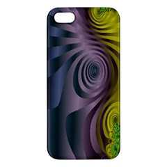 Fractal In Purple Gold And Green Apple Iphone 5 Premium Hardshell Case by Simbadda