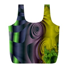 Fractal In Purple Gold And Green Full Print Recycle Bags (l)  by Simbadda
