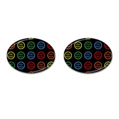 Happy Birthday Colorful Wallpaper Background Cufflinks (oval) by Simbadda