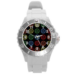 Happy Birthday Colorful Wallpaper Background Round Plastic Sport Watch (l) by Simbadda