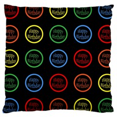 Happy Birthday Colorful Wallpaper Background Large Cushion Case (two Sides) by Simbadda