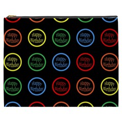 Happy Birthday Colorful Wallpaper Background Cosmetic Bag (xxxl)  by Simbadda