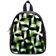 Green Black And White Abstract Background Of Squares School Bags (small)  by Simbadda