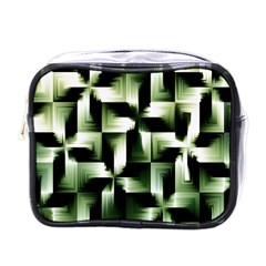 Green Black And White Abstract Background Of Squares Mini Toiletries Bags by Simbadda