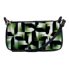 Green Black And White Abstract Background Of Squares Shoulder Clutch Bags by Simbadda