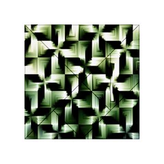 Green Black And White Abstract Background Of Squares Acrylic Tangram Puzzle (4  x 4 ) by Simbadda