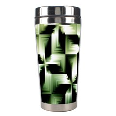 Green Black And White Abstract Background Of Squares Stainless Steel Travel Tumblers by Simbadda