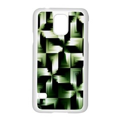 Green Black And White Abstract Background Of Squares Samsung Galaxy S5 Case (White)