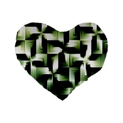 Green Black And White Abstract Background Of Squares Standard 16  Premium Flano Heart Shape Cushions by Simbadda