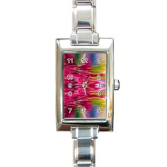 Abstract Pink Colorful Water Background Rectangle Italian Charm Watch by Simbadda