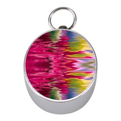 Abstract Pink Colorful Water Background Mini Silver Compasses by Simbadda