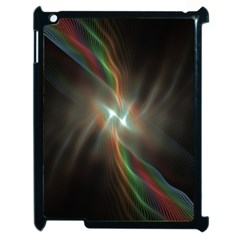 Colorful Waves With Lights Abstract Multicolor Waves With Bright Lights Background Apple Ipad 2 Case (black) by Simbadda