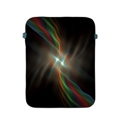 Colorful Waves With Lights Abstract Multicolor Waves With Bright Lights Background Apple Ipad 2/3/4 Protective Soft Cases by Simbadda