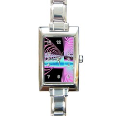 Blue And Pink Swirls And Circles Fractal Rectangle Italian Charm Watch by Simbadda