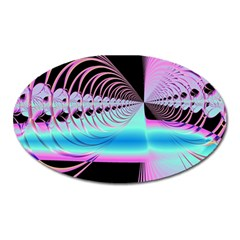 Blue And Pink Swirls And Circles Fractal Oval Magnet by Simbadda