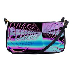 Blue And Pink Swirls And Circles Fractal Shoulder Clutch Bags by Simbadda