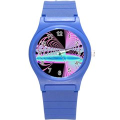 Blue And Pink Swirls And Circles Fractal Round Plastic Sport Watch (s) by Simbadda