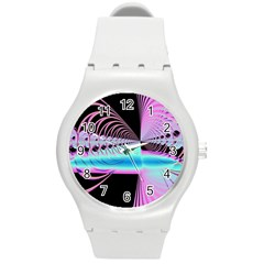 Blue And Pink Swirls And Circles Fractal Round Plastic Sport Watch (m) by Simbadda