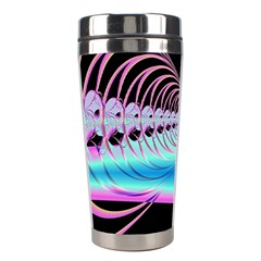 Blue And Pink Swirls And Circles Fractal Stainless Steel Travel Tumblers by Simbadda
