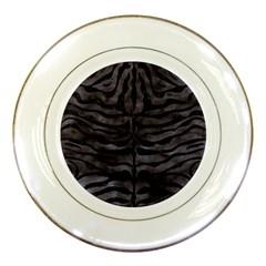 Skin2 Black Marble & Black Watercolor (r) Porcelain Plate by trendistuff