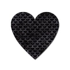Sca3 Bk Mrbl Bk Wclr Heart Magnet by trendistuff