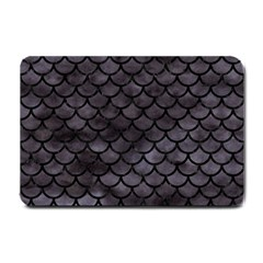 Scales1 Black Marble & Black Watercolor (r) Small Doormat by trendistuff