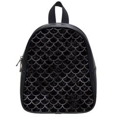 Scales1 Black Marble & Black Watercolor School Bag (small) by trendistuff
