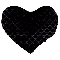 Scales1 Black Marble & Black Watercolor Large 19  Premium Flano Heart Shape Cushion by trendistuff