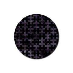 Puzzle1 Black Marble & Black Watercolor Rubber Coaster (round) by trendistuff