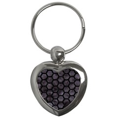 Hexagon2 Black Marble & Black Watercolor (r) Key Chain (heart) by trendistuff