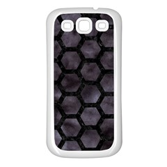 Hexagon2 Black Marble & Black Watercolor (r) Samsung Galaxy S3 Back Case (white) by trendistuff