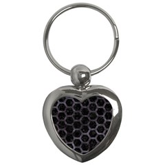 Hexagon2 Black Marble & Black Watercolor Key Chain (heart) by trendistuff