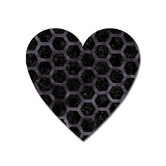 Hexagon2 Black Marble & Black Watercolor Magnet (heart) by trendistuff