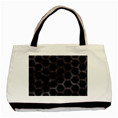 Hexagon2 Black Marble & Black Watercolor Basic Tote Bag (two Sides) by trendistuff