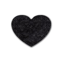 Hexagon1 Black Marble & Black Watercolor Rubber Heart Coaster (4 Pack) by trendistuff