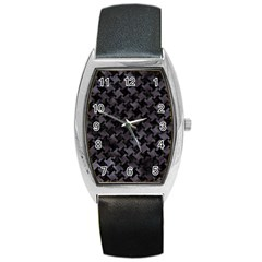 Houndstooth2 Black Marble & Black Watercolor Barrel Style Metal Watch by trendistuff