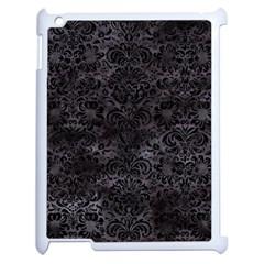 Damask2 Black Marble & Black Watercolor (r) Apple Ipad 2 Case (white) by trendistuff