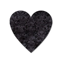 Damask2 Black Marble & Black Watercolor Magnet (heart) by trendistuff