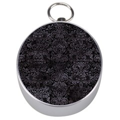 Damask2 Black Marble & Black Watercolor Silver Compass by trendistuff