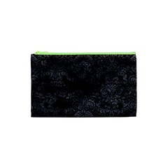 Damask2 Black Marble & Black Watercolor Cosmetic Bag (xs) by trendistuff