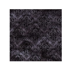 Damask1 Black Marble & Black Watercolor (r) Small Satin Scarf (square) by trendistuff