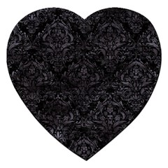 Damask1 Black Marble & Black Watercolor Jigsaw Puzzle (heart) by trendistuff