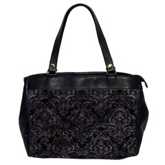 Damask1 Black Marble & Black Watercolor Oversize Office Handbag (2 Sides) by trendistuff