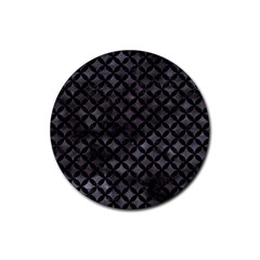 Circles3 Black Marble & Black Watercolor (r) Rubber Coaster (round) by trendistuff
