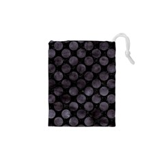 Circles2 Black Marble & Black Watercolor Drawstring Pouch (xs) by trendistuff
