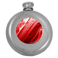 Red Abstract Swirling Pattern Background Wallpaper Round Hip Flask (5 Oz) by Simbadda