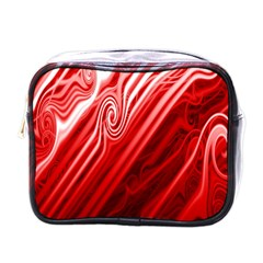 Red Abstract Swirling Pattern Background Wallpaper Mini Toiletries Bags by Simbadda
